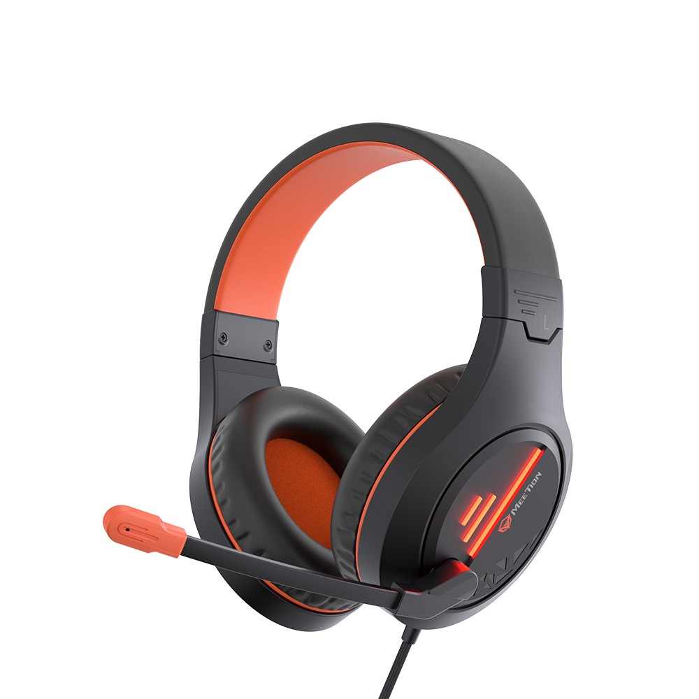 Stereo Gaming Headset with Mic Black Orange Lightweight Backlit<br> HP021