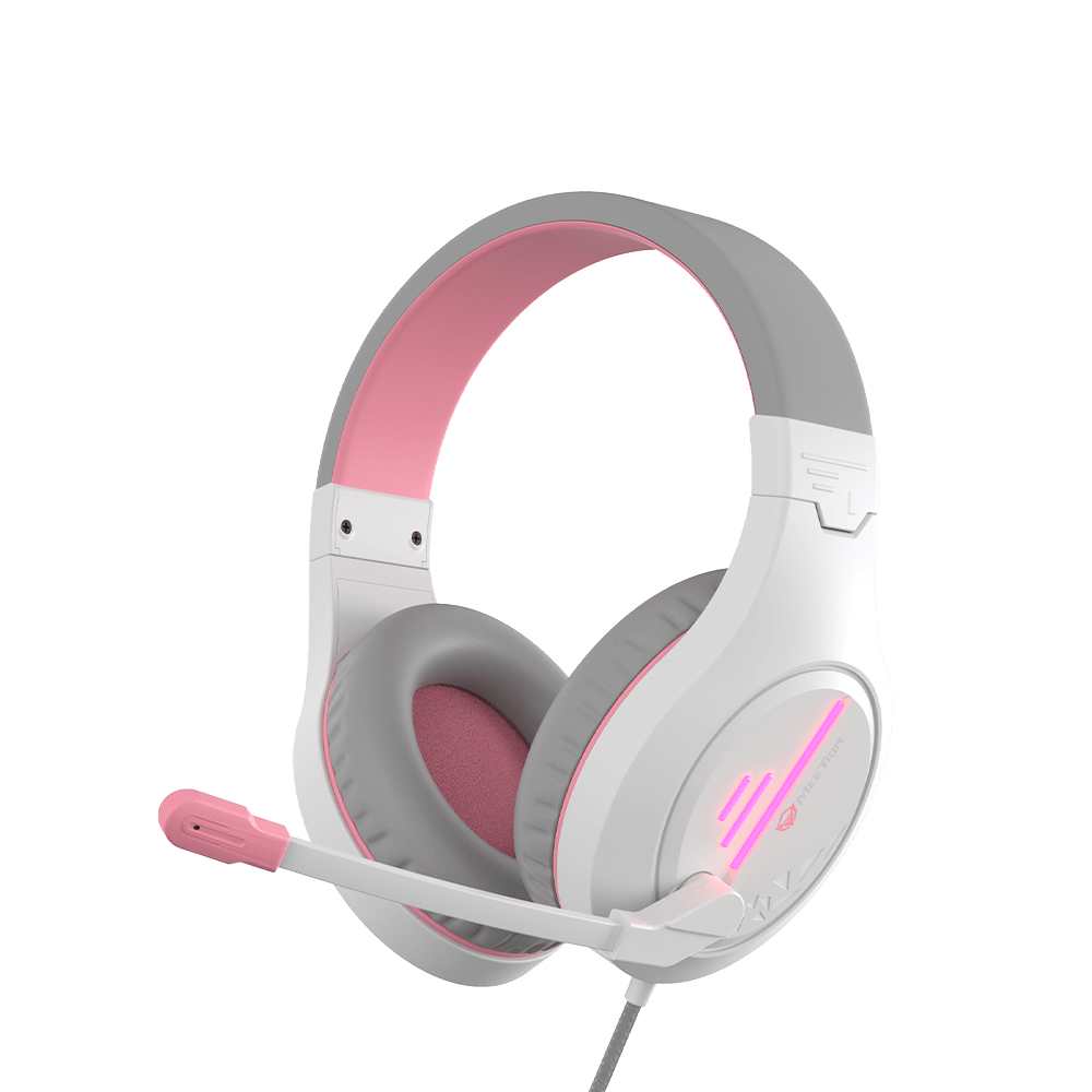 Stereo Gaming Headset White Pink Lightweight Backlit <br> HP021
