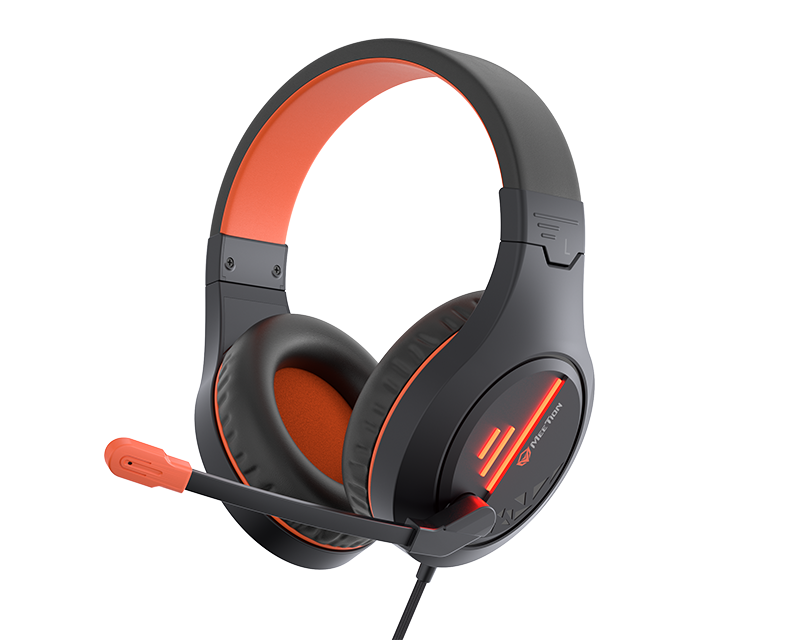 Stereo Gaming Headset with Mic Black Orange Lightweight Backlit </br>HP021