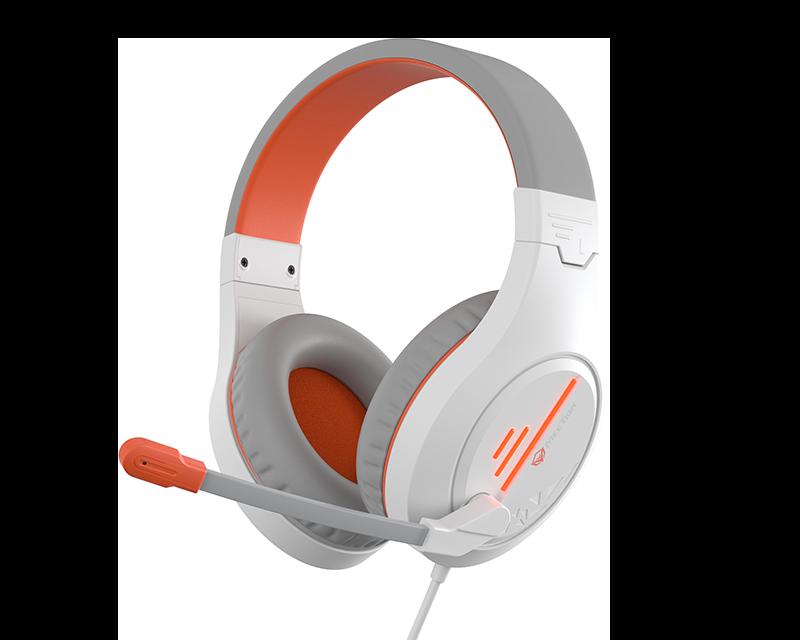 Stereo Gaming Headphones White Orange Lightweight Backlit </br>HP021